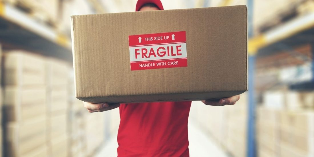 Packing box with fragile item sticker